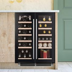 undercounter wine cooler in black glass. Suitable for red, white and sparkling wine. The UK's number one brand of wine coolers Wine Cabinets, Sparkling Wine, Black Glass, Wine Rack, Kitchen Appliances, Storage, Furniture, Home Decor, Diy Kitchen Appliances