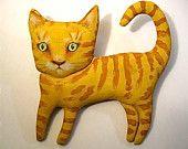 orange cat art doll- ooak art doll cat- wall or shelf art- cute- good kitty- strange cat- meow- euc