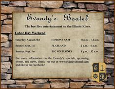Evandy's Boatel is the place to be this Labor Day Weekend. Come check out our beautiful outdoor patio featuring lots of great live entertainment and plenty of great food and drink specials. For more information visit our website at www.evandysboatel.com. Happy Labor Day everyone!