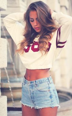 Varsity Crop Sweater. High Waist Denim Shorts. Sporty. Urban Fashion. Outfit. Swag. Dope