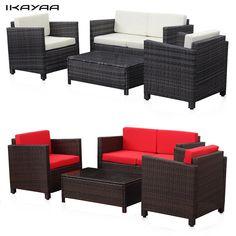 IKayaa 4 STÜCKE Gepolsterten Rattan Terrasse Möbel Set Garden Sofa Couch Set Korb Weben 2 Schlafcouch Tisch DE lager