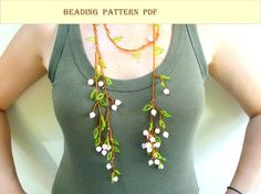 Beading pattern PDF. Lariat  Branch. Necklace lariat  by MLivista