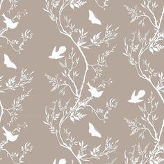 Timorous Beasties Birdbranch Stripe Hand Printed Wallpaper - White On Stone