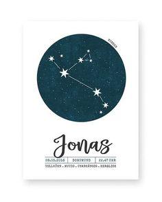 Kinderposter Sternzeichen mit dem Sternbild des Sternzeichens.