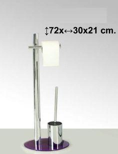 Portarrollo.escobillero violeta, metal con base de cristal    Medidas: 72x30x21cm    Iva incluido     Más colores disponibles