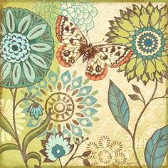 Nature Garden Butterfly Turqoise Flower-Sq by Jennifer Brinley | Ruth Levison Design