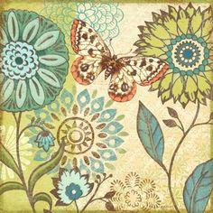 Nature Garden Butterfly Turqoise Flower-Sq by Jennifer Brinley   Ruth Levison Design