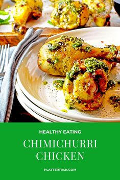 Chimichurri Chicken Drumsticks make for healthy eating without sacrificing taste or flavorful. As a bonus, this recipe is good for your wallet too! Easy Chicken Dinner Recipes, Best Chicken Recipes, Turkey Recipes, Easy Healthy Recipes, Great Recipes, Healthy Meals, Delicious Recipes, Chimichurri Chicken, Yum Yum Chicken