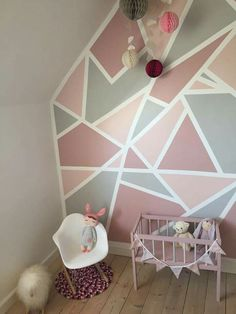 inspiring geometric wall paint ideas for your modern home page 6 Geometric Wall Paint, Geometric Decor, Geometric Designs, Girl Bedroom Walls, Girl Room, Decor Room, Bedroom Decor, Home Decor, Bedroom Wall Designs