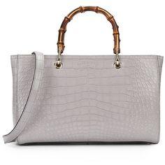 c93555ae0e97 Gucci Bamboo Medium Crocodile Shopper (€25.995) ❤ liked on Polyvore  featuring bags,