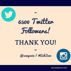 New milestone on Twitter 6500 followers. Thank you all!  #MakeItHappen