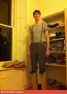I'm 7 foot. For Halloween I went as a normal guy on stilts