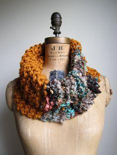 Bohemian knit cowl Amber. Teal. Salmon. Gold..
