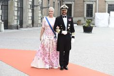 Princess Mette-Marit and Prince Hakkon of  Norway at the wedding of Prince Carl Philip and Sofia Hellqvist at Royal Chapel