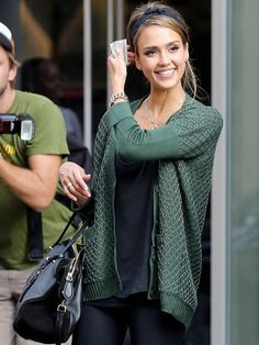 One Grey Day Davos Cardigan in Pine Green as Seen On Jessica Alba