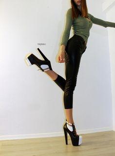 Black White Lace Up Designer Platform Booties Extreme High Heels, Platform High Heels, Black High Heels, High Heel Boots, Shoe Boots, Cute Heels, Sexy Heels, Stiletto Heels, Black And White Heels