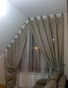 Cabin Curtains, Drapes Curtains, Window Coverings, Window Treatments, Curtain Inspiration, Curtain Headings, Window Dressings, Stores, Slanted Ceiling