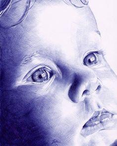 Portrait Penna biro BIC (ballpoint pen) by Matfellons Cool Drawings, Pencil Drawings, Biro Drawing, Biro Art, Drawing Faces, Stylo Art, Scribble Art, Ballpoint Pen Drawing, Vaporwave Art