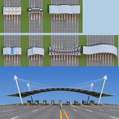 Buy Highway toll station by huangxingcheng on 2010 production File has many Have adjusted the lights and materials, can be rendere. House Main Gates Design, Entrance Design, Entrance Gates, Highway Architecture, Architecture Design, Fasade Design, Minecraft City Buildings, Plaza Design, Bus Terminal