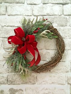 Antler Christmas Wreath Holiday Wreath Front by AdorabellaWreaths