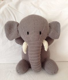 Hand knitted toy soft toy plush toy stuffed toy cuddly toy knitted animal for baby or child- Elephant knitted Elephant