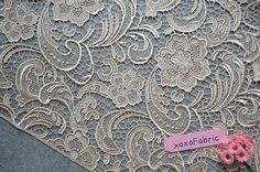 Champagne Lace Fabric 3D florals hollowed by xoxoDeethena on Etsy