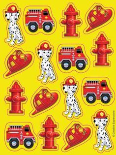Firefighter Themed Sticker Sheet