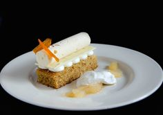 Deconstructed Carrot Cake - this beautiful dessert uses a carrot cake as a base and inspiration, but it then adds a touch of orange, saffron and white chocolate to bring it to a whole new level of deliciousness and elegance in desserts.