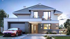 Oszust 2 - zdjęcie 1 Double Storey House, 2 Storey House Design, Bungalow House Design, House Front Design, Small House Design, Modern House Design, Morden House, House Plans Mansion, Beautiful House Plans