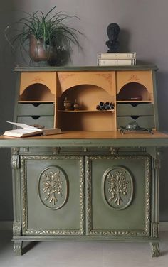 This vintage secretary desk is a gorgeously traditional, almost masculine style. Painted in Chalk Paint by Nick Vardakas, in Greece, the main colour here is Olive and the insides are painted in Arles, with stencilled details painted on in Barcelona Orange and gilded mouldings using my Gilding Wax.