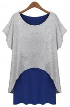 Grey Blue Short Sleeve Loose Two Pieces Dress $32.10