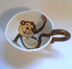 Pier 1 Monkey Mug Animal Jungle Brown White Large Coffee Cup #Pier1