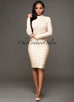 Chic Couture Online - Sasha Sand Gold Studded Mesh Top Luxe Bandage Dress, $175.00 (http://www.chiccoutureonline.com/sasha-sand-gold-studded-mesh-top-luxe-bandage-dress/)