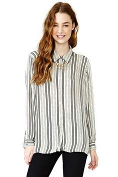 Get In Line Silk Blouse
