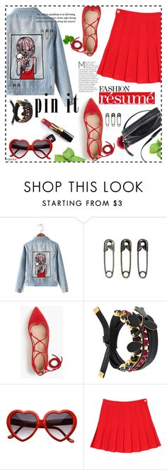 """""""Pins With Denim Jacket #3"""" by wynsha ❤ liked on Polyvore featuring Chicnova Fashion, Tim Holtz, J.Crew, Marni and Chanel"""