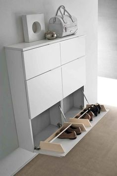 Latest Shoes Rack Design Ideas To Try Shoe rack designs are all about getting those items more organized in a manner that suits the style and space … Wall Shoe Rack, Diy Shoe Rack, Shoe Storage, Storage Ideas, Shoe Rack Ikea, Rack Design, Design Ideas, Interior Design, Dorm Rooms