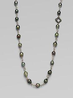 David Yurman Diamond Accented Tahitian Pearl Necklace