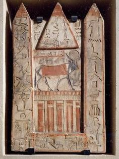 Stele of Apis bull, cult of the bull with two obelisks flanking a pyramid, from the Serapeum at Memphis. Egyptian civilisation, Third Intermediate Period, Dynasty XXI. Paris, Musée Du Louvre