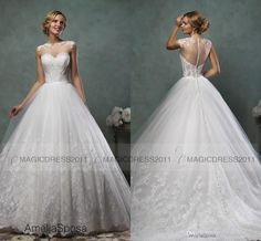 Charming A-Line Wedding Dresses Sheer Neck Bridal Gowns 2015 Amelia Sposa Jewel Appliques Pleated Long Vintage Garden Wedding Gown Online with $136.65/Piece on Magicdress2011's Store   DHgate.com
