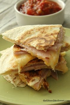When I am doing lunch just for myself or making the kids an afternoon snack I like to cook up these quick and easy Ham and Cheese Quesadillas.