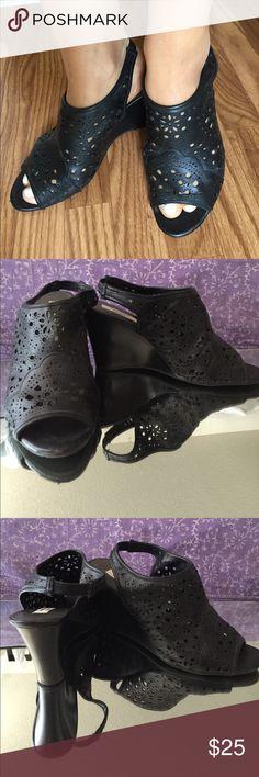 Simply Vera Vera Wang Black Peep Toe Heels Peep toe, simply Vera Vera Wang wedge heels. Black, sized 9.5 Medium, with beautiful detail. Some slight mesh wear on the inner left foot. Simply Vera Vera Wang Shoes Wedges