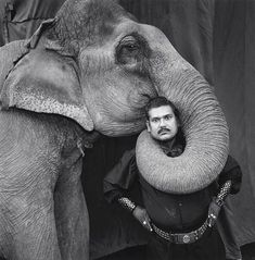 The Indian Circus of Mary Ellen Mark. From her set of photos this one is my favorite, the photo of an animal trainer in the circus with an elephant. The expression of the trainer shows his superiority and control over the elephant.