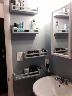 Ikea Bekvam spice racks as bathroom storage. Now this is a smart idea.#affiliate