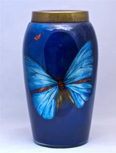 """Stourbridge DG Ware 7"""" Butterfly Cobalr iridescent Blue Art Glass Marked Vase"""