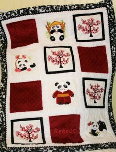 Appliqued Cherry Blossom Pandas Cuddly by tlcblanketsandthings, $110.00