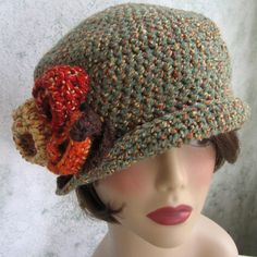 Crochet Womens Flapper Hat Dowton Abbey Style With Large Flower Trim