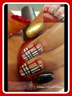 Uñas de acrílico esmaltado en gel laquer nail art