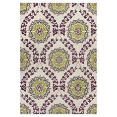 purple and light green rug