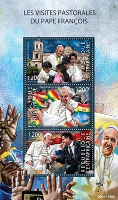 Central African Republic post stamp CA 15306 aThe pastoral visits of Pope Francis (Pope Francis in Philippines, Pope Francis in Bolivia, Pope Francis and Horacio Cartes in Paraguay)