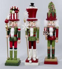 House of Holiday - Kurt Adler Holly Wood Nutcracker, 3 Assorted Nutcracker Christmas Decorations, Decoration Christmas, Noel Christmas, Green Christmas, Christmas Candy, All Things Christmas, Christmas Crafts, Christmas Ornaments, Nutcracker Ornaments